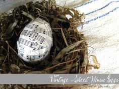 How to make Vintage Sheet Music Eggs …… quick and easy project for Spring! #diy