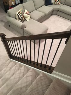 DIY Banisters | Still Dreaming of a Finished Basement | April Colleen Home, Diy Stairs, Banisters, New Home Construction, Half Walls, Finishing Basement, Diy Staircase, Diy Stair Railing, Diy On A Budget