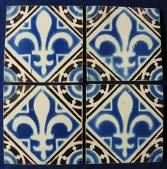 ¤Set of four tiles from Desvres marked Fourmaintreaux Alexandre. France ca 1860 // 4 carreaux de Desvres signé Fourmaintreaux Alexandre, France vers 1860