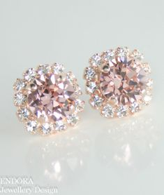 Blush pink Swarovski crystal earrings | Blush pink wedding | Rose gold bridal earrings | #EndoraJewellery $30