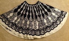 Boho ethnic CIRCLE skirt size 6 black white silver sequins lined dance #Silkland #full