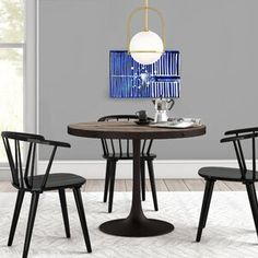 Ebern Designs Atmore Pedestal Dining Table | Wayfair Marble Top Dining Table, Round Table And Chairs, Pedestal Dining Table, Oval Table, Dining Tables, Reclaimed Wood Dining Table, Industrial Dining, Industrial Style, Basement Furniture