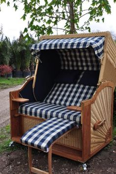 Luxus 2 1/2 Sitzer Strandkorb Teakholz Rum Cay Gartenmöbel Garten  Strandkörbe