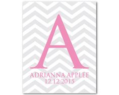 A personal favorite from my Etsy shop https://www.etsy.com/listing/125442681/personalized-nursery-wall-art-chevron