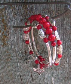 Red Dawn Memory Wire Bracelet with Red Bamboo by BedazzledbyDebi, $25.00