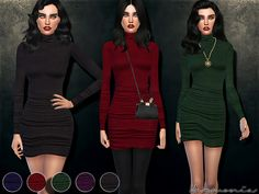 The Sims Resource: Figure-forming Turtleneck Dress by Harmonia • Sims 4 Downloads