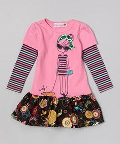 This Pink Girl Layered Drop-Waist Dress - Toddler & Girls by Heather Hill is perfect! #zulilyfinds