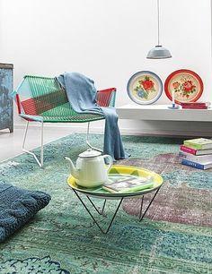 groen karpet stoel