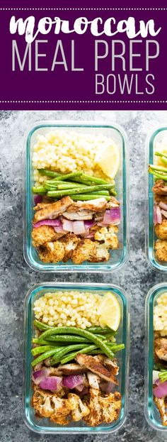 Moroccan couscous meal prep bowls with chicken thighs, roasted cauliflower, green beans and red onions.  A delicious meal prep lunch recipe that also makes a great dinner!