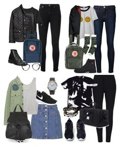 """Ashton Irwin Inspired School Outfits"" by fivesecondsofinspiration ❤ liked on Polyvore featuring Yves Saint Laurent, Frame Denim, Chicnova Fashion, Urban Renewal, H&M, Fjällräven, Timberland, Comptoir Des Cotonniers, Topshop and Helmut Lang"