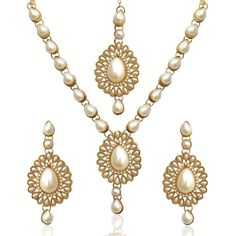 Attractive Gold Plated Party Wear Women Bollywood Indian Pearl Necklace Set #natural_gems15