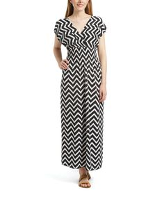 Look at this #zulilyfind! Jessica Taylor Black & White Zigzag Surplice Maxi Dress by Jessica Taylor #zulilyfinds