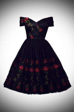 Dolce and Gabbana Vintage couture style Embroidered Rose Tulle Fatale Prom dress by the Pretty Dress Company at Deadly is the Female