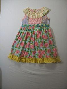 Matilda Jane Girls Size 8 Multi-Color Dress Sleeveless Cotton Blend Spring #MatildaJane #Everyday