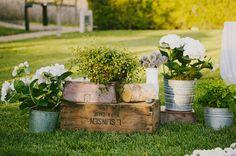Wooden boxes and Tin Buckets. Carneros Inn Napa Wedding: Brigid + Andrew