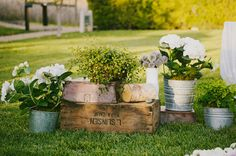 Wooden boxes and Tin Buckets. Carneros Inn Napa Wedding: Brigid + Andrew