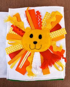 So, we start off the week of quiet book pages with the lion page! You open the quiet book, and the first thing you see is this guy smiling b. Diy Quiet Books, Baby Quiet Book, Felt Quiet Books, Quiet Book Templates, Quiet Book Patterns, Printable Templates, Baby Crafts, Felt Crafts, Sensory Book