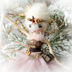 Christmas Fairy, Vintage Christmas, Christmas Ornaments, Vintage Fabrics, Swarovski Crystals, Glass Beads, Holiday Decor, Crafts, Home Decor