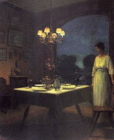 La table dressée le soir by Marcel Rieder (1862-1942)
