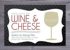 Wine and Cheese Party Invitation Printable by BriGeeski on Etsy, $14.00