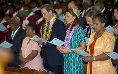 The Duke and the Duchess of Cambridge during a Sunday church service at the Cathedral in Honiara, Solomon Islands, as part of the nine-day royal tour of the Far East and South Pacific in honour of the Queen's Diamond Jubilee.