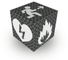 Notre insigne, un cube carbone avec pictogrammes officiels