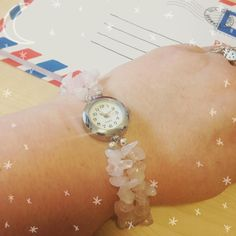 Working hard today but wearing my #rosequartz watch in honour of #magicalmindfulness this Monday  #life #love #acatlikecuriosity #prompts #daily #free #ideas #inspiration #magic
