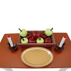 18 Inch Doll 12 pc Kitchen Accessory Set, Bowls, Candlesticks, Apples, Platter