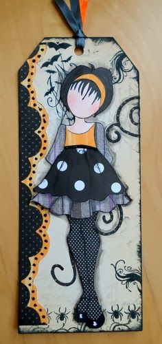 Prima - Julie Nutting stamp - Doll with Ruffle Dress. One of my favourites! I like the stockings and it looks like she's wearing a sweater. Halloween Tags, Fall Halloween, Halloween Crafts, Halloween Scrapbook, Prima Paper Dolls, Prima Doll Stamps, Card Tags, Gift Tags, Doll Crafts