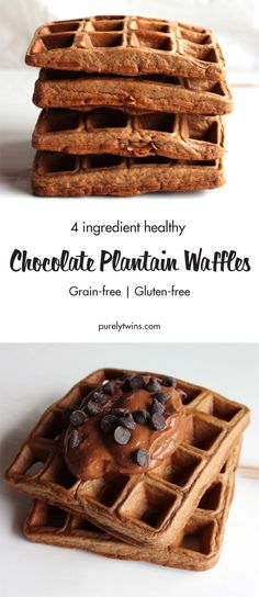 Chocolate for breakfast? YES! Healthy too. Just 4 ingredients. NUT-FREE Paleo waffles. 10 minutes later you have yourself healthy chocolate waffle recipe to enjoy for breakfast or anytime of the day. Gluten-free waffle recipe that the whole family will love.