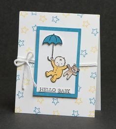 """Today's """"Hello Baby"""" card features the Stampin Up Moon Baby Stamp Set and the fabulous watercolor pencils! Baby Boy Cards, New Baby Cards, Baby Shower Cards, Baby Shower Gifts, Beautiful Handmade Cards, Stamping Up Cards, Kids Cards, Making Ideas, Cardmaking"""