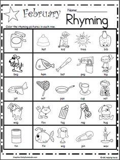 free printable rhymes rhyming words worksheets for preschool  kindergarten rhyming worksheets for february