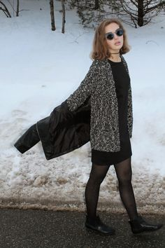 winter look with LBD and sparkly tights, leather Chelsea booties and layers on layres via Petite Maison of Fashion