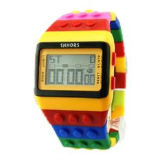 Fashionable Unisex Colorful Block Brick Style Digital Wrist Watch -- Read more reviews of the product by visiting the link on the image.