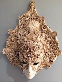 Unique Venetian Antique Masque Mask Wall Hanging Art Swarovski Crystals Shells Mirror