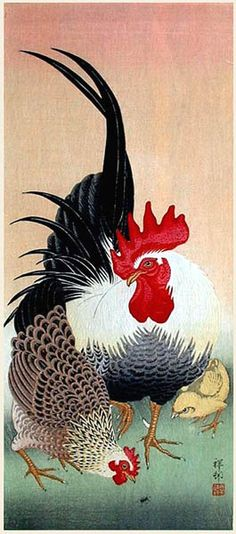 Galerie hanga. . . Galerie torii: Bantam Cock, Hen, et Chick par Ohara Koson....reépinglé par Maurie Daboux ❥•*`*•❥
