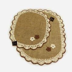 Gosto de Fazer:  Jogo de tapetes ovais, 2 peças em juta natural fo...