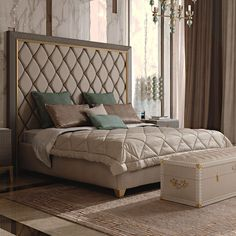 Italian Designer Art Deco Inspired Upholstered Bed with Tall Headboard at Juliettes Interiors, a fine range of High End Designer Furniture.