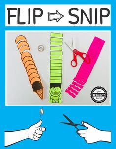 Flip and Snip Scissor Practice Game. A fun and creative way to practice scissor skills. Add some variety to simple cutting skills with this differentiated scissor game. Preschool Learning, Early Learning, In Kindergarten, Preschool Activities, Time Activities, Dementia Activities, Stem Learning, Learning Spanish, Physical Activities