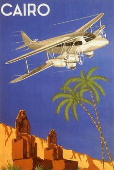 Vintage Aeroplanes Vintage Travel Poster Cairo Egypt Africa Airplane - Vintage illustration African travel poster or luggage label from Cairo, Egypt featuring an old fashioned bi-winged propeller plane flying over the pyramids, desert and palms trees. Belle Epoque, Retro, Art Deco Posters, Cairo Egypt, Illustrations, Vintage Travel Posters, Custom Posters, Lettering, Typography Design