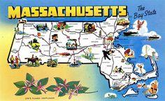vintage state postcards | Massachusetts State Map Vintage Chrome by PostcardBoutique on Etsy