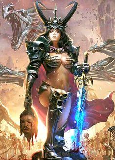 Women of Fantasy Fantasy Art Women, Dark Fantasy Art, Fantasy Girl, Fantasy Artwork, Fantasy Character Design, Character Inspiration, Character Art, Fantasy Female Warrior, Female Art