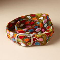 """Hand-embroidered by artisans in Peru, our belt brings new meaning to the phrase """"fall color."""" Like all works of art, each belt is one-of-a-kind. We'll choose from our one-of-a-kind stock. Handbag Accessories, Fashion Accessories, Tomboys, Workout Accessories, Gucci Black, Valentine Gifts, Personal Style, Bling, My Style"""