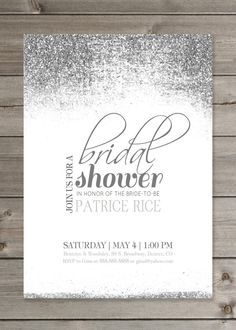 95730824c2c Bridal Shower Glitter Invitation 5x7 par GaiaDesignStudios sur Etsy Free  Bridal Shower Invitations