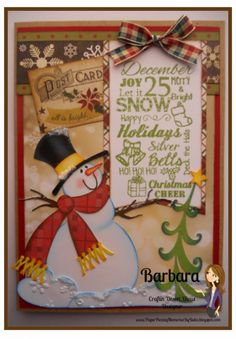 Snowman card created by PAPER PIECING MEMORIES BY BABS. Stamped Sentiment by Craftin Desert Divas and snowman pattern from My Scrap Chick.