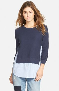 Treasure&Bond+Layered+Shirttail+Sweater+available+at+#Nordstrom