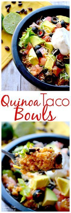 Quinoa Taco Bowls | Lemon Tree Dwelling Just made for the kids and they LOVED it....didn't have olives or beans but put blue corn tacos in
