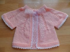 """diy_crafts- Yelek """"Girly and pretty ~~ Pink cardigan with plumetis / organdie ribbon and crocheted edgining \""""originals ce 93 Baby Cardigan Knitting Pattern, Baby Knitting Patterns, Baby Patterns, Knit Baby Dress, Knitted Baby Clothes, Crochet For Kids, Crochet Baby, Knit Crochet, Baby Vest"""