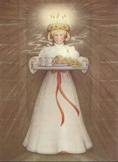 Renée Graef's enchanting picture of Kirsten Larson, of The American Girl series, celebrating the feast of St. Lucia with her Swedish-American family in Minnesota in the early 1900s. The book, published in 1986, is by Janet Shaw. This was one of my favorite books when I was a little girl.