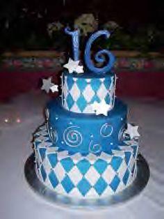 Blue & White 16th Birthday Cake.